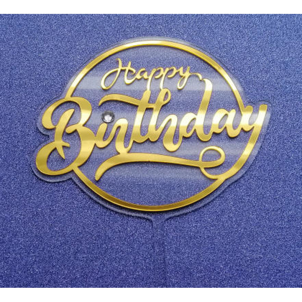 Happy birthday transparant goud